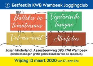 Eetfestijn KWB Wambeek Joggingclub, Vrijdag 13 maart